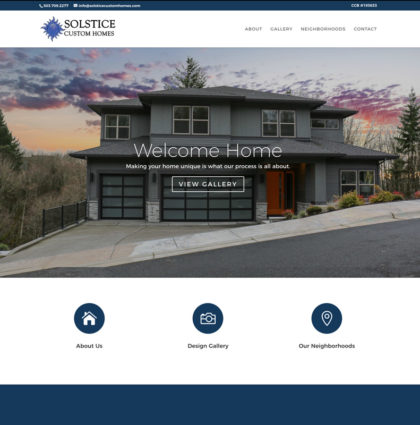 Solstice Custom Homes Website